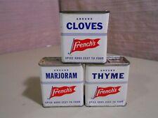 3 Vintage French's  Spice Tins  THYME -  CLOVES -  MARJORAM  Slide Lid Recipes