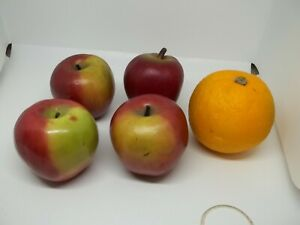 Lot of 5 Artificial Fruit, 4 apples 1 orange, Lifelike, Plastic, Props, Ex Cond!