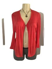 NIC+ZOE Women's Red-Orange Open Front Cardigan Linen Blend Sweater Size Large