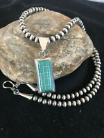 Navajo Pearls Sterling Silver Turquoise Bead Necklace Inlay Pendant RM 1212