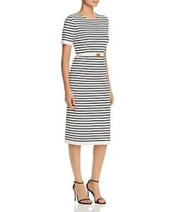 Tory Burch Women's Striped Knit Midi Dress New Ivory Black L