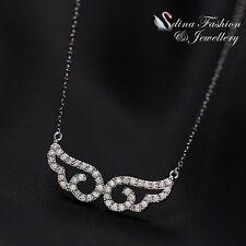 18K White Gold Plated Simulated Diamond Hollow-Out Angel Wings Silver Necklace