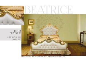 Letto matrimoniale contenitore ecopelle Barocco legno oro o argento Beatrice