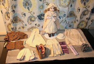 ANTIQUE Bisque Doll CUNO OTTO DRESSEL 1896 Ribbon Winner WARDROBE & ACCESSORIES