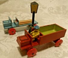 "2 VINTAGE FOLK ART ALL WOOD 2.5"" TOY TRUCKS + CARVED LIGHT POST"