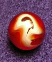 UV OxBlood Ruby RED WHITE ALLEY Agate FLAME SWIRL HEATON Vitro Vintage Marbles