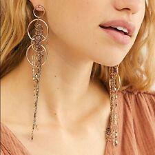 NWT Free People In The Loop Hoop Bohemian Earrings Long Boho Brass Steel
