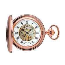 Reloj De Bolsillo Chapado en Oro Rosa Esqueleto mitad Cazador De Montaje Royal-Modelo Nº B45
