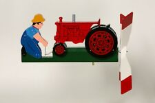 Cranking RED Tractor Hand Painted Wooden Wind Whirligig  30......Red Tractor