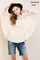 ENTRO Crochet Neckline Ruffle Dolman Sleeve Top USA Boutique