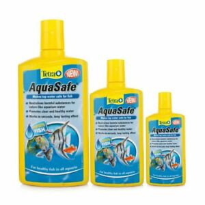 TETRA AQUASAFE AQUARIUM TAP WATER DECHLORINATOR CONDITIONER FISH TANK TREATMENT