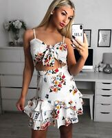 Ladies Floral Polka Dot Tie Front Crop Top & Frill Detail Mini Skirt Co-ord Set