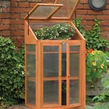 Garden Wooden Double Door Hardwood Mini Greenhouse with Transparent Windows