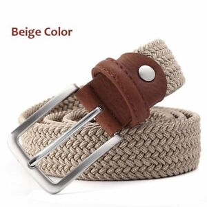 Elastic Belt for Men Waistband Braided Style With Silver Buckle Fashion Strap