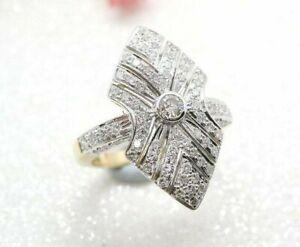 Long Vintage 1920's Antique Art Deco Wedding Engagement Ring 925 Silver