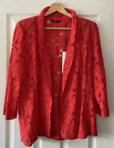 ROMAN RED LACE COVER UP JACKET TOP UK 12 NEW