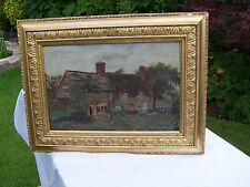 ANTIQUE 1896 GILTWOOD PICTURE FRAME mid gold gesso 41 x 31 for picture 29 x 19