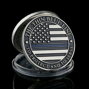 USA The Thin Blue Line To Protect And To Serve Officer Silver Coin Collectible