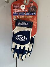 Navy Rawlings Full-Grain Leather Baseball Batting Gloves BRAND NEW Youth Medium