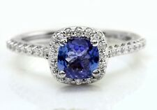 1.70 TCW Natural Blue Tanzanite and Diamonds in 14K Solid White Gold Ring