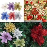"10pcs 6"" Glitter Hollow Wedding Party Christmas Flowers Xmas Tree Decorations.."