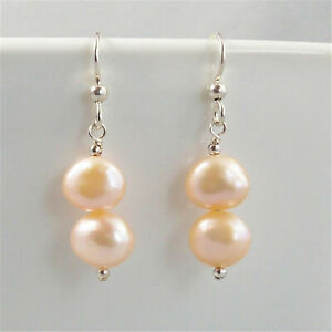 Fashion Freshwater pink baroque pearl earrings 925 silver accessories fashion