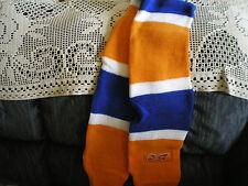 budweiser hockey scarf orange white blue 4 ft long 6 in wide hand warmer nip
