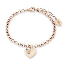 S.Oliver Damen ID Armband + GRAVUR auf dem Herz-Anhänger Edelstahl IP Rosegold
