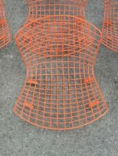 Vtg Knoll Harry Bertoia AUTHENTIC Orange Wire Seat Tops Atomic Ranch Eames Era