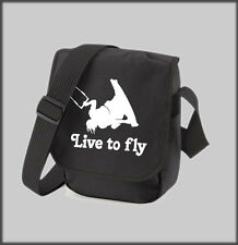 BLACK SHOULDER BAG LIVE TO FLY KITESURF KITE SURFING PERSONALISED PRESENT GIFT