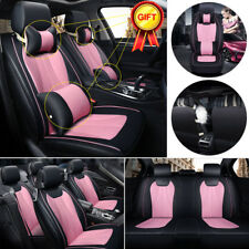 US Universal 5 Seats Auto Car SUV 3D Seat Cover Black&Pink Cushions W/Pillow Set