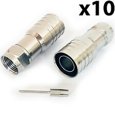 10x PRO Outdoor CT165/WF165 F-Type Hex Crimp Connector Plug – Thick Coax Cable