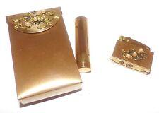 Vintage Cigarette Lighter Case Holder Lipstick Set Gold Tone with Pearls Japan