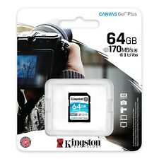 Kingston SD SDG3/64 128 256 MemoryCard CanvasGo DSLRs mirrorless cameras and 4K