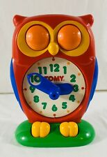 Vintage Red Tomy Owl Clock 1990 Educational Learning Teaching Time EUC