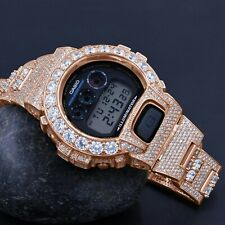 Authentic Custom Casio G-Shock DW 6900 Solitaire Bezel Rose Gold Finish Watch