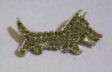 Vintage Silver tone Rhinestone Scottie Westie Scottish Terrier Dog Pin / Brooch