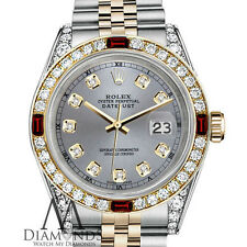 Unisex Rolex SS & Gold 36mm Datejust Watch Grey Dial Ruby & Diamond With A Track