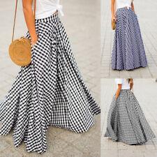 ZANZEA Women's High Waist Plaid Check Long Maxi Skirts Full Length Skirts Dress