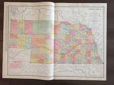 "Large 21"" X 28"" COLOR Map of Nebraska(1905)"