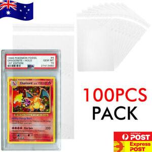 100pcs PSA Slab Sleeve Resealable Bag Self Adhesive Ultra Clear Cards Protector