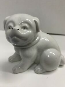 "White Pug Foo Temple Dog Porcelain Hand Painted Signed MMA Philippines 5"" Long"