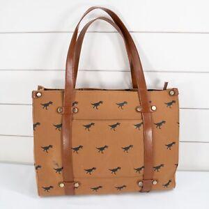 ModCloth Camp Director Zippered Tote Bag Brown Black Dinosaur Handbag Purse