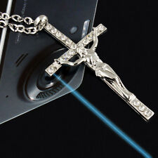 Women Holy Crystal Crucifix Cross Silver Necklace Pendant Chain For Women Lady