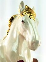 Vintage 1950's Ceramic Lying Horse Statue White Pearlescent with Gold Trim