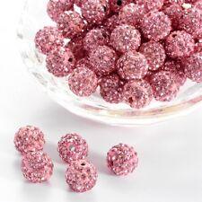 12 unidades pedrería perlas beads perlas Shamballa rosa 10 mm (1213)