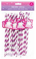 Novelty Paper Drinking  Straws, Unicorn Design & Biodegradable - Pack of 20