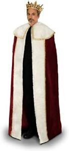 """Kings Cape Burgundy Velour W/ White Faux Fur Trim 56"""" Unisex Royal Costume Acces"""