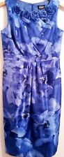 ADRIANNA PAPELL Blue Floral Polyester/Lined Rosette/Bead Festive Dress SIZE 6