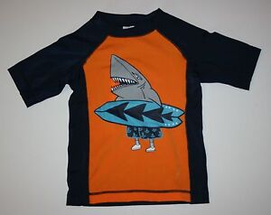 New Gymboree Boys 4 Year Shark Dude w Surf Board Rash Guard Swim Suit Top